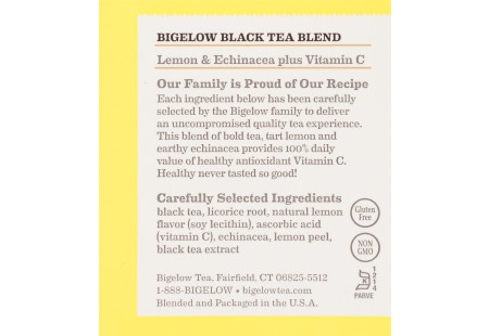 Ingredient panel of Lemon and Echinacea Black Tea plus Vitamin C box