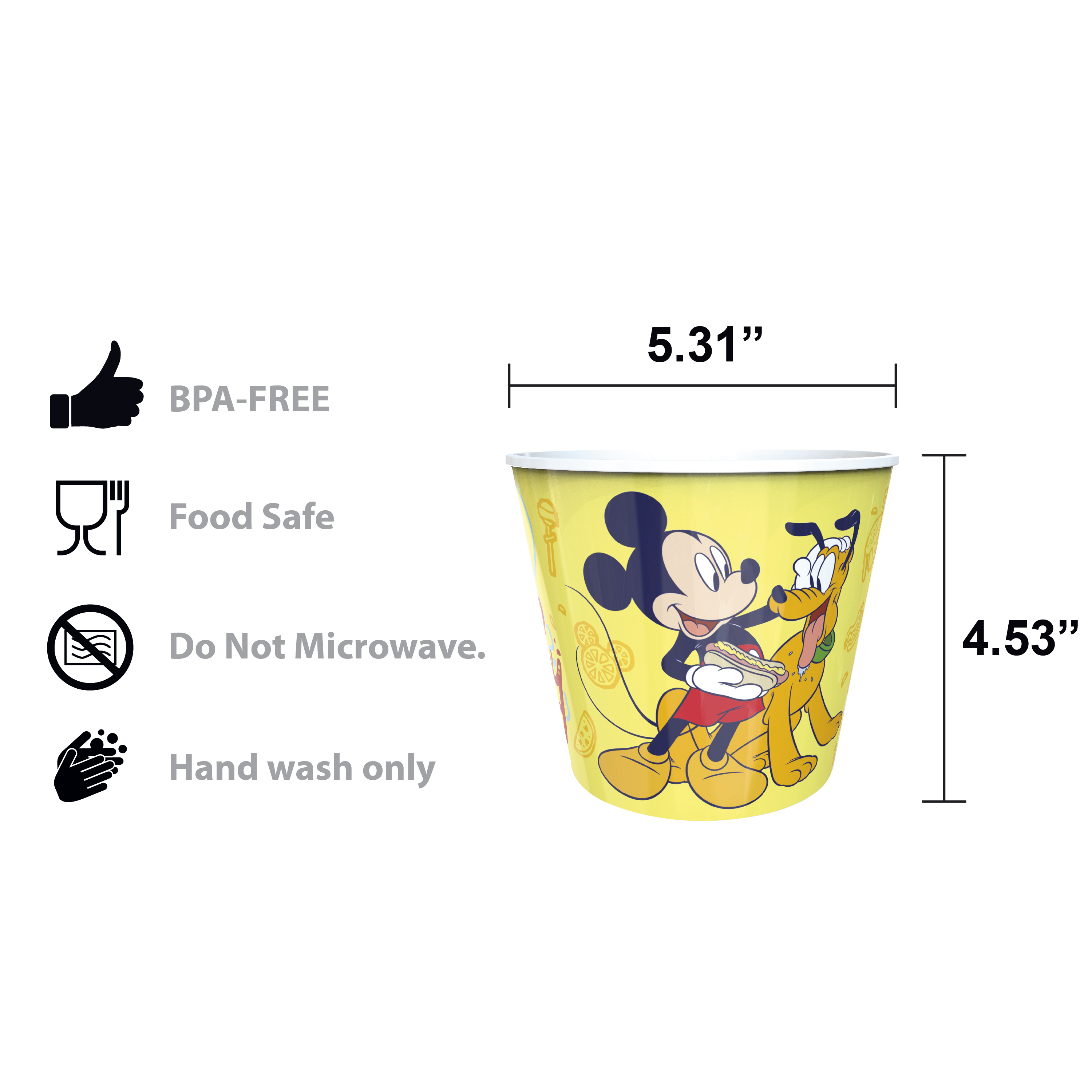 Disney Plastic Popcorn Container and Bowls, Mickey Mouse and Minnie Mouse, 5-piece set slideshow image 10