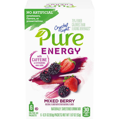 Crystal Light Pure Energy Mixed Berry Drink Mix with Caffeine and B Vitamins, 6 - 0.31 oz Packets