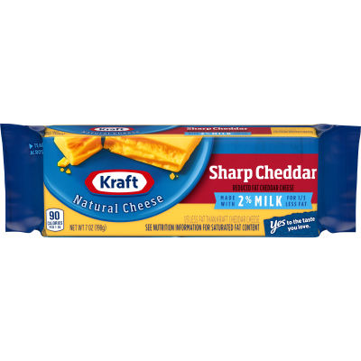 Kraft Sharp Natural Cheddar 2% Milk Cheese Block 7 oz Wrapper