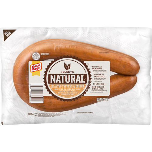 Oscar Mayer Natural Roasted Peppers & Onions Uncured Pork Sausage 13 oz