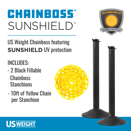ChainBoss Stanchion - Black Empty with Yellow Chain 2