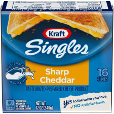 Kraft Singles Sharp Cheddar Cheese Slices, 12 oz (16 slices)