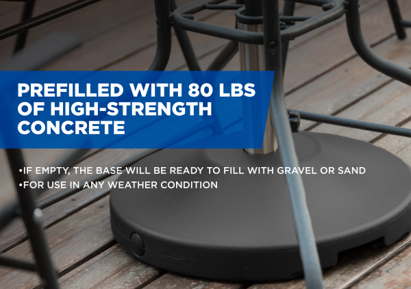 80 lb Free Standing Umbrella Base - Black 6