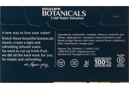 Back panel of Bigelow Botanicals Blueberry Citrus Basil Cold Water Infusion Box