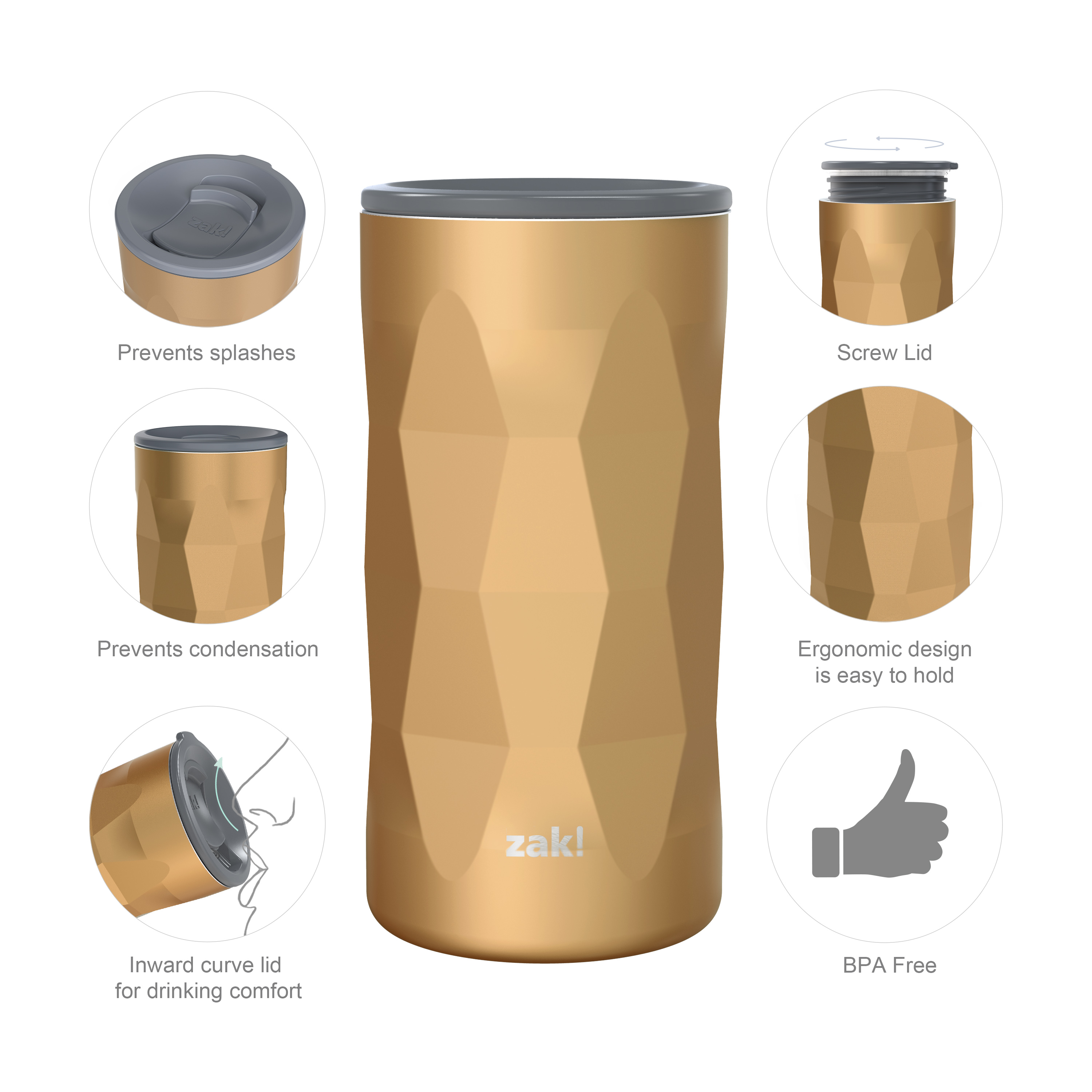 Fractal 12 ounce Vacuum Insulated Stainless Steel Tumbler, Copper slideshow image 8