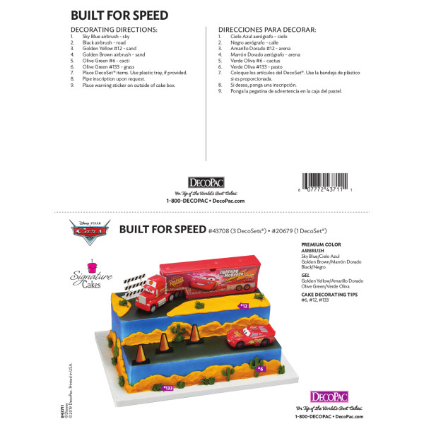 Cars Build for Speed Signature Cake Decorating Instruction Card