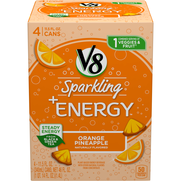 V8 Sparkling +Energy™, Healthy Energy Drink, Natural Energy from Tea, Orange Pineapple, 11.5 Ounce Can