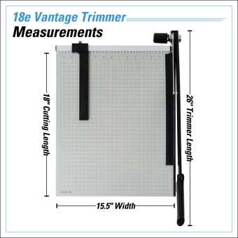Dahle Vantage® 18e Trimmer InfoGraphic - Measurements