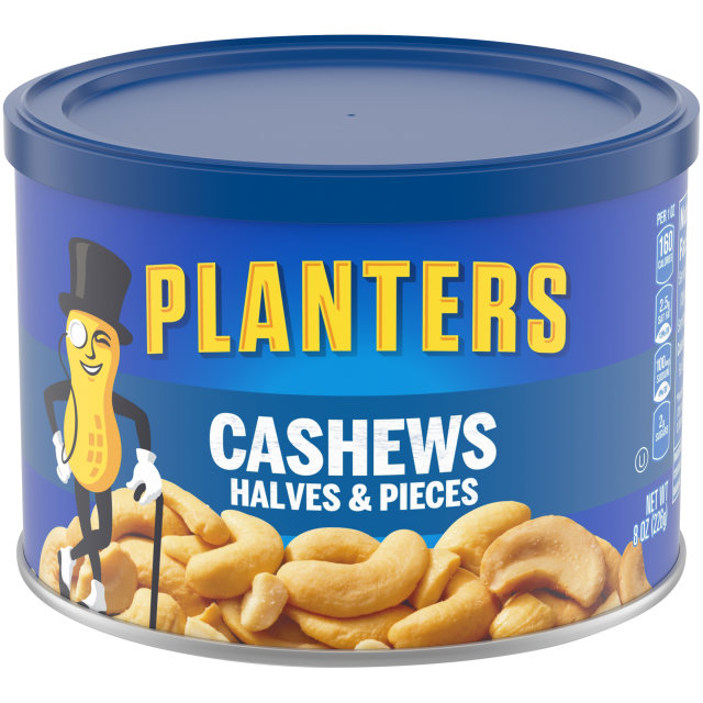 PLANTERS Halves & Pieces Cashews 8 oz Can