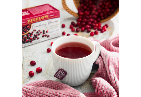 Lifestyle image of a cup of Cranberry Harvest Herbal Tea