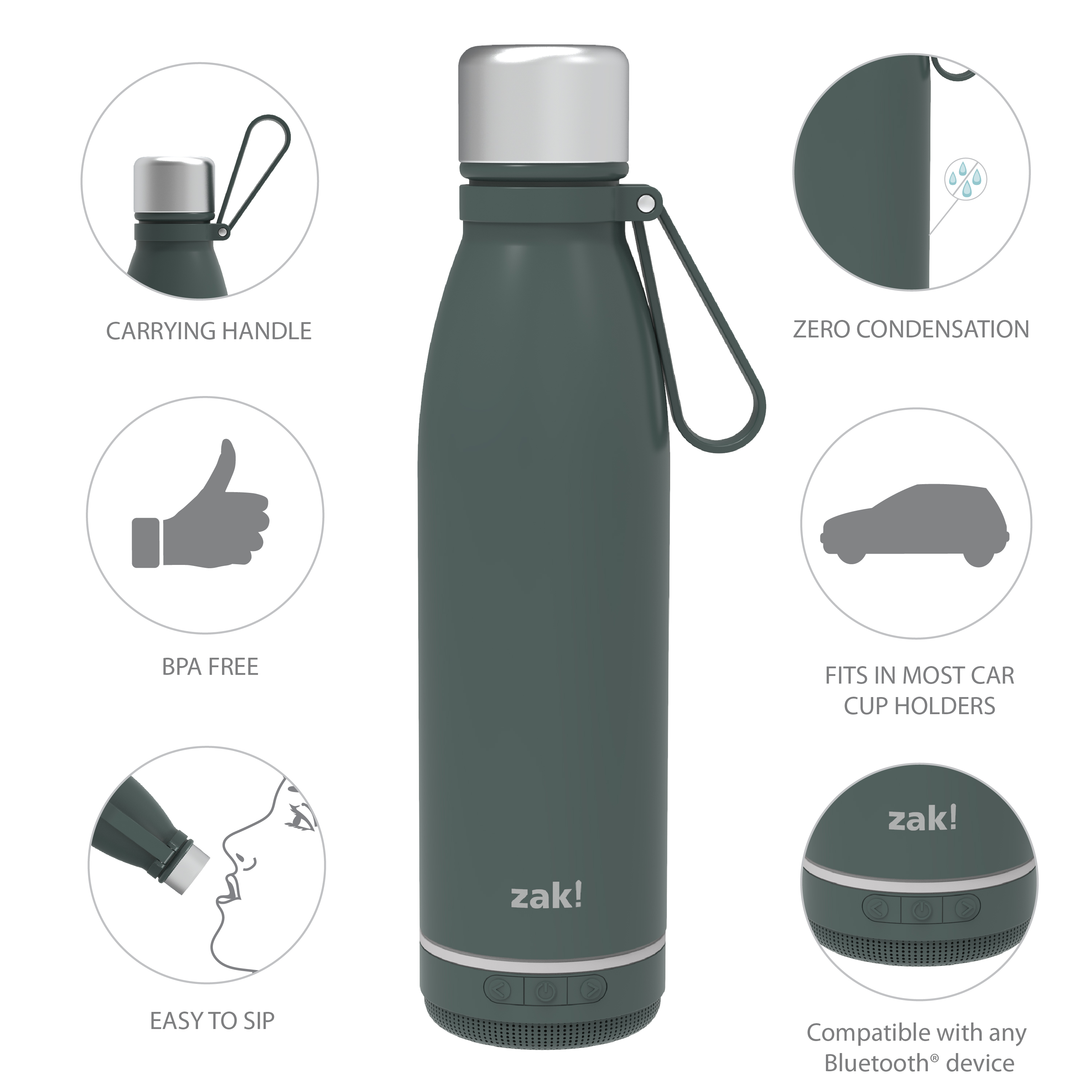 Zak Play 17.5 ounce Stainless Steel Tumbler with Bluetooth Speaker, Gray slideshow image 5