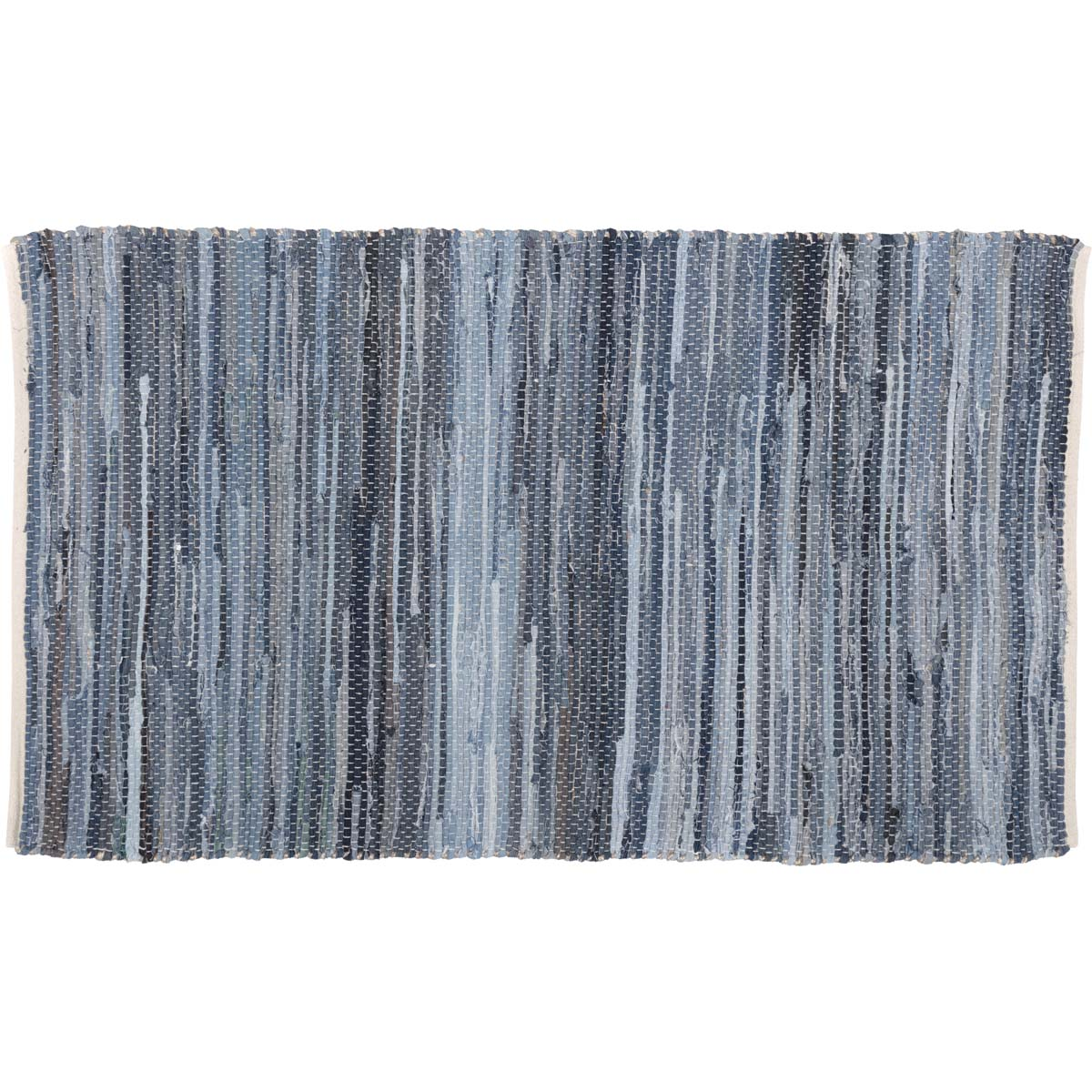 Denim Chindi Rag Rug: Blue Farmhouse Flooring VHC Denim & Hemp Rug Cotton Denim