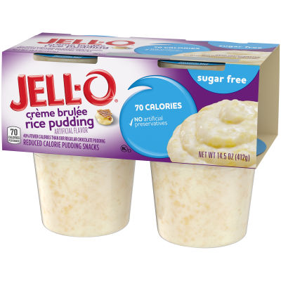 Jell-O Ready to Eat Sugar Free Créme Brulee Rice Pudding Cups, 14.5 oz Sleeve (4 Cups)