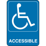 "Adhesive Handicap Accessible Sign, 5"" x 7"""