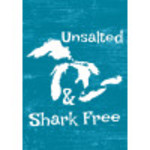 "Aluminum Unsalted And Shark Free Sign 10"" x 14"""