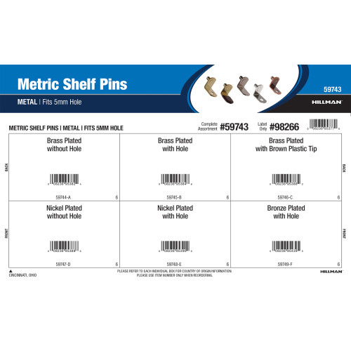 Metal Metric Shelf Pins Assortment (Fits 5mm Hole)