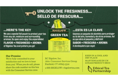 Back of Green Tea with Lemon Tea box bilingual packaging