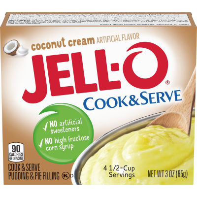 Jell-O Cook & Serve Coconut Cream Pudding & Pie Filling 3 oz Box