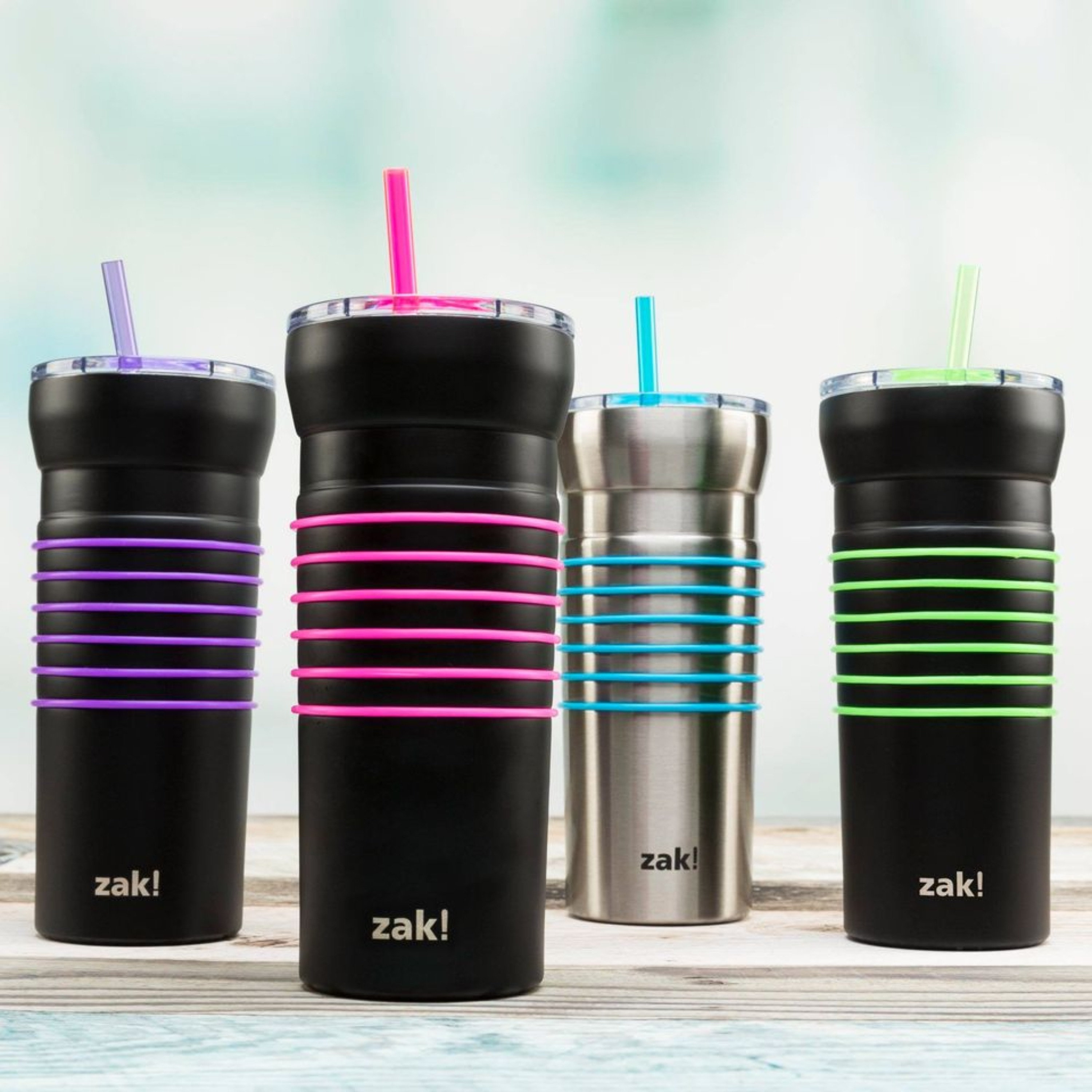 HydraTrak 20 ounce Vacuum Insulated Stainless Steel Tumbler, Black with Pink Rings slideshow image 4