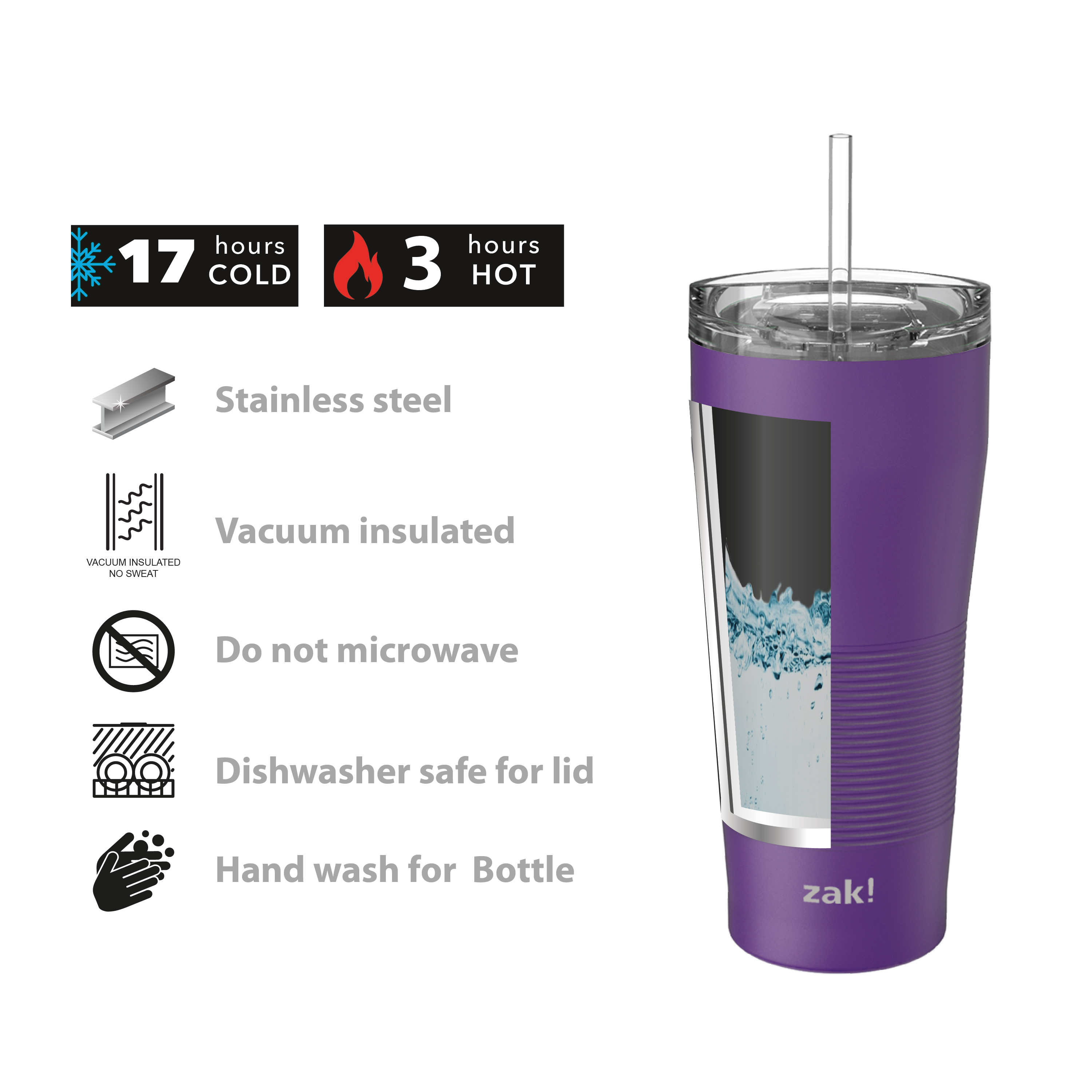 Lynden 28 ounce Stainless Steel Vacuum Insulated Tumbler with Straw, Viola slideshow image 4