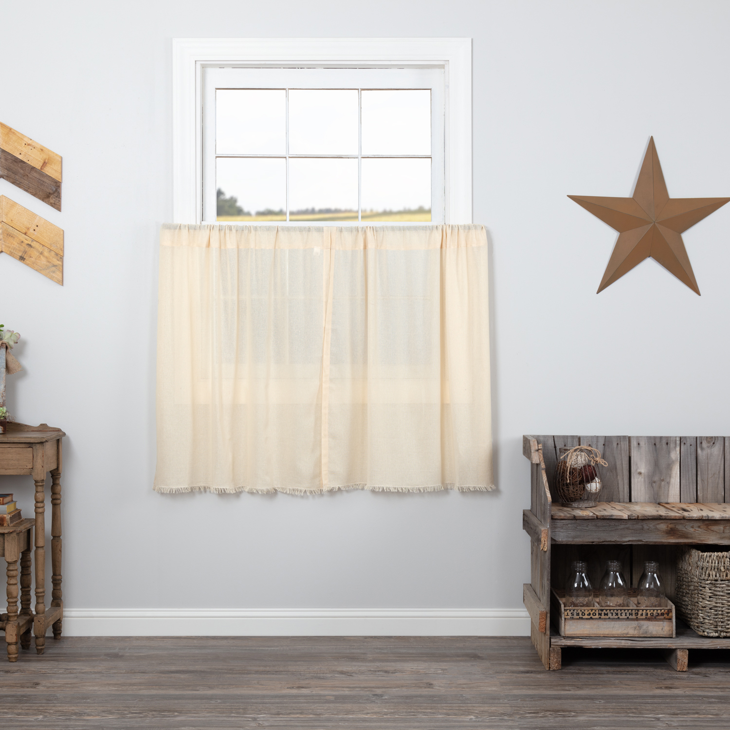 Farmhouse Kitchen Curtains Salem Tobacco Cloth Tier Pair