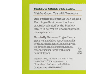 Ingredient panel of Matcha Green Tea with Turmeric box