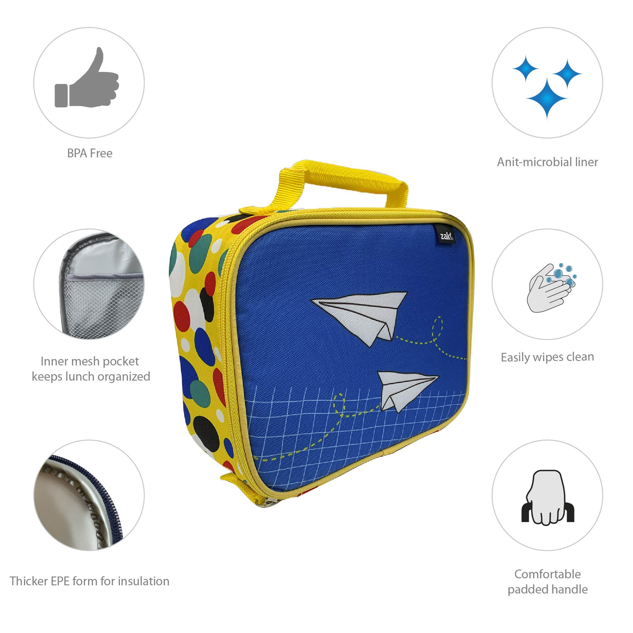 Grid Lock Insulated Reusable Lunch Bag, Planes slideshow image 5