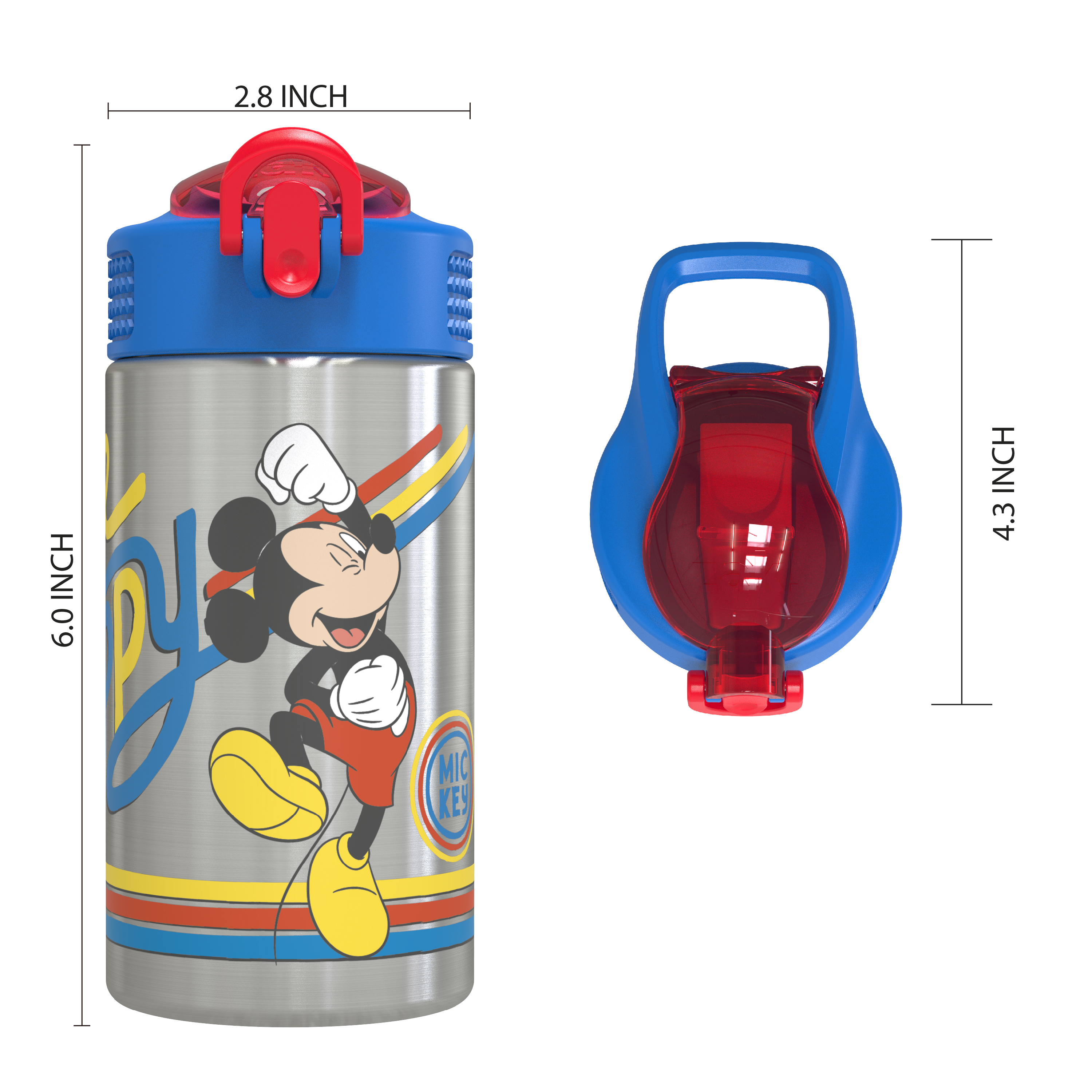 Disney 15.5 ounce Stainless Steel Water Bottle with Built-in Carrying Loop, Mickey Mouse slideshow image 5