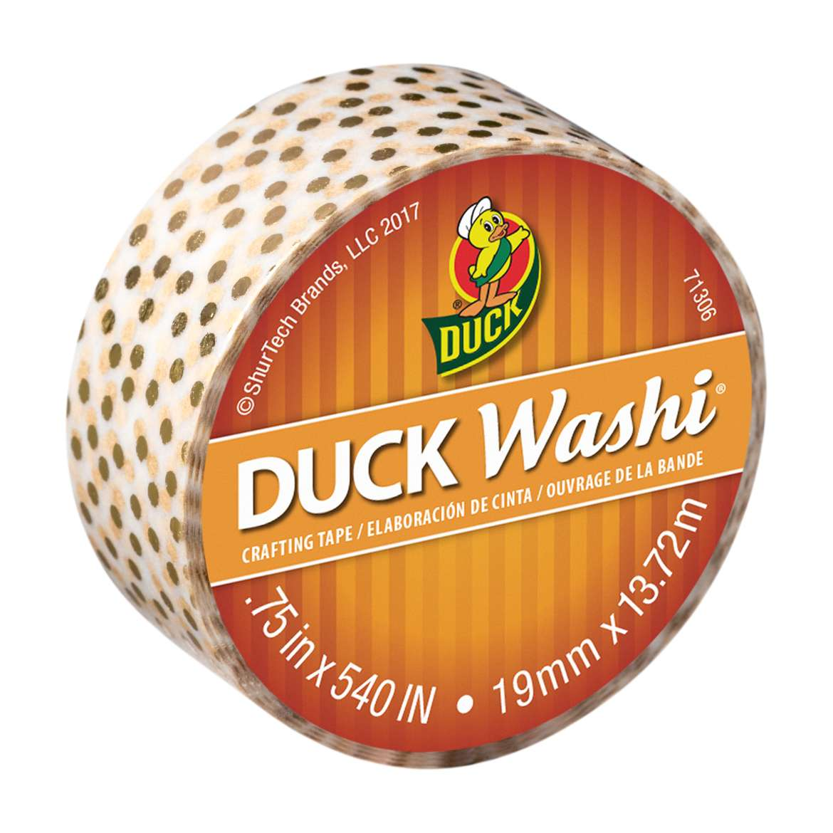 Duck Washi® Crafting Tape - Metallic Gold Dot, 0.75 in. X 15 yd. Image