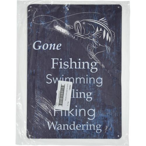 Aluminum Gone Fishing Sign, 10