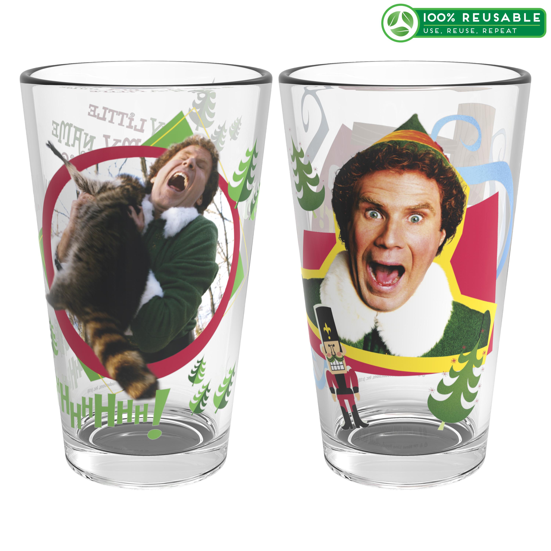 Christmas Glassware 16 ounce Pint Glasses, Elf, 2-piece set slideshow image 1