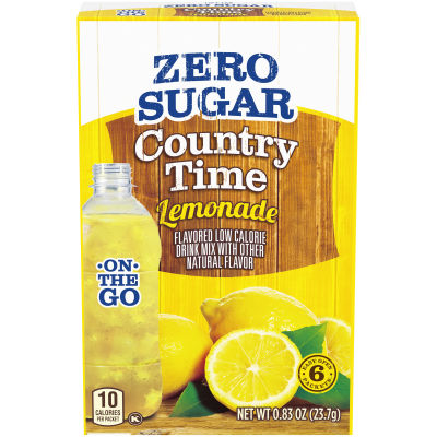 Country Time On-The-Go Sugar-Free Lemonade Powdered Soft Drink 6 - 0.83 oz Packets