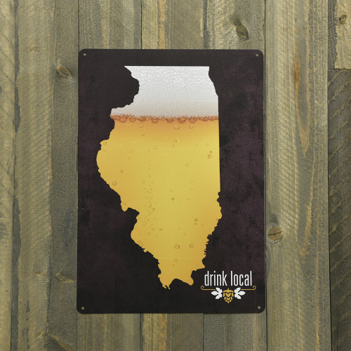 Aluminum Drink Local IL Beer Sign, 10