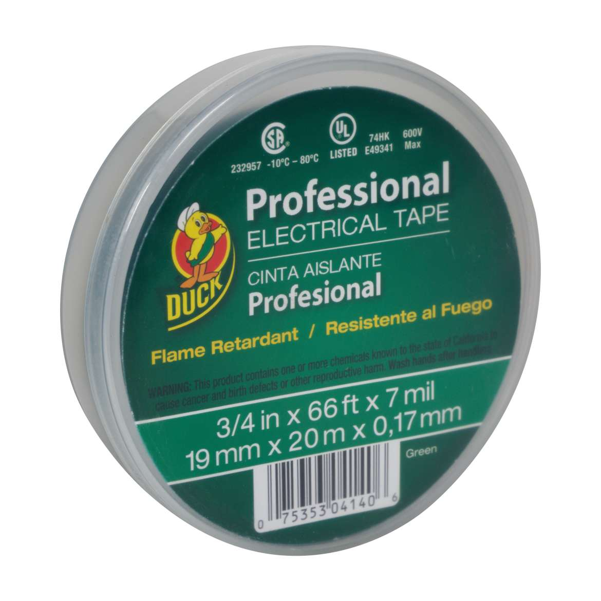 Duck® Brand Professional Electrical Tape Canister Pack - Green, .75 in. x 66 ft. x 7 mil. Image