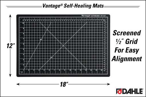 "Dahle Vantage® 12"" x 18"" Self-Healing Cutting Mat, Black - InfoGraphic"