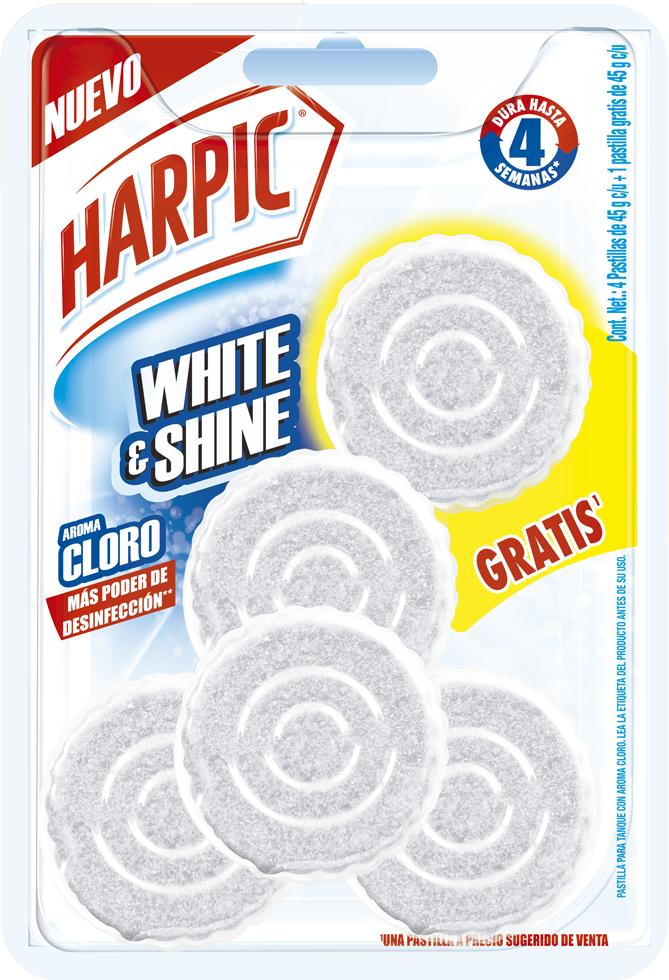 Harpic® White & Shine Pastilla Para Tanque Con Aroma A Cloro 5pzas.