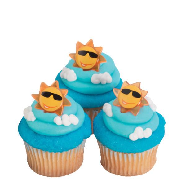 Sun Face Cupcake Rings