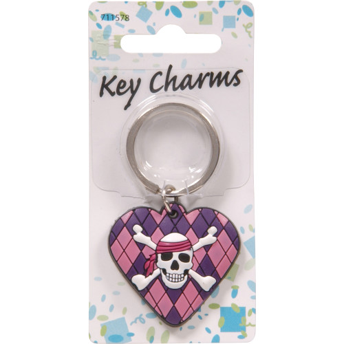 Girly Skull & Argyle Heart Key Chain