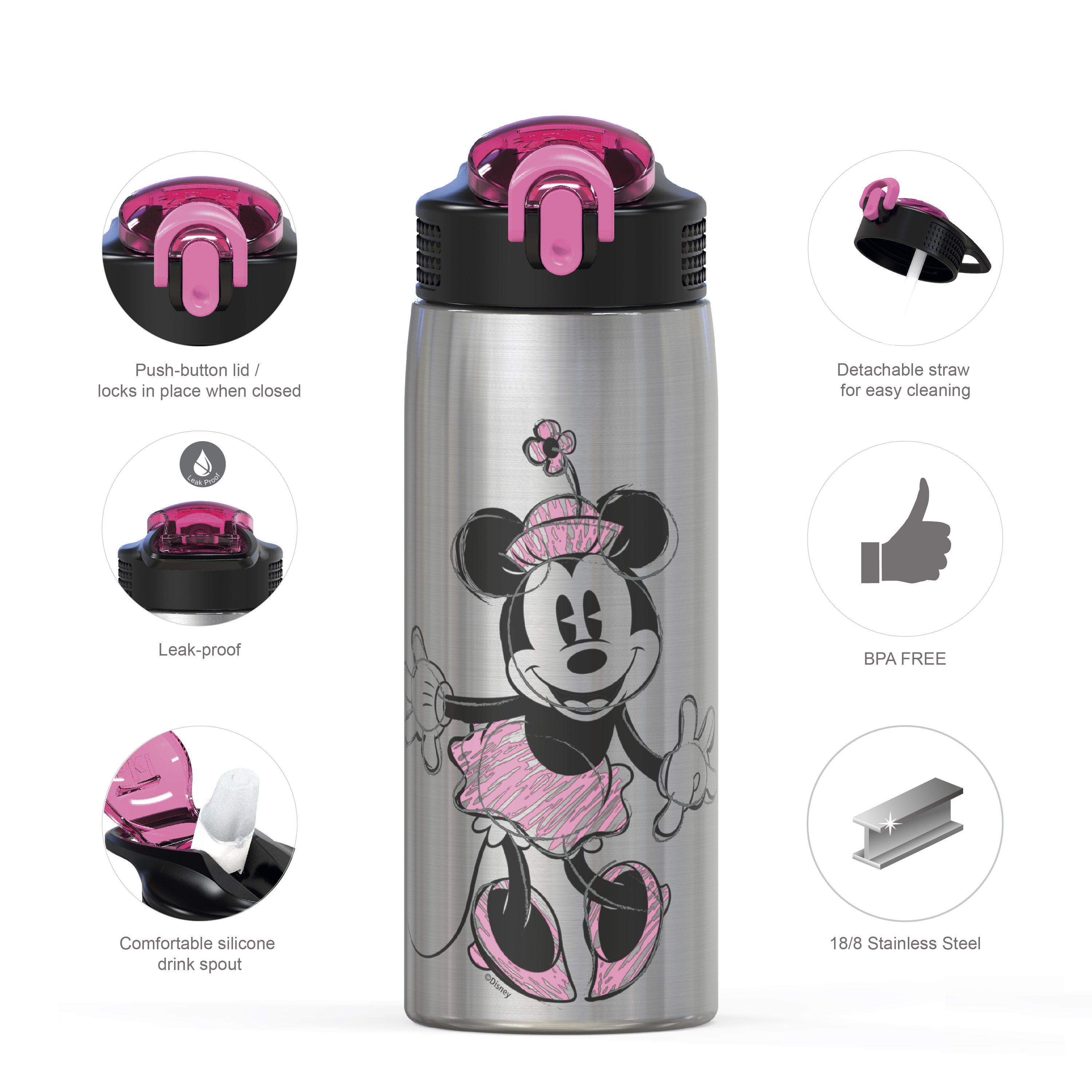 Disney 27 ounce Water Bottle, Minnie Mouse slideshow image 5