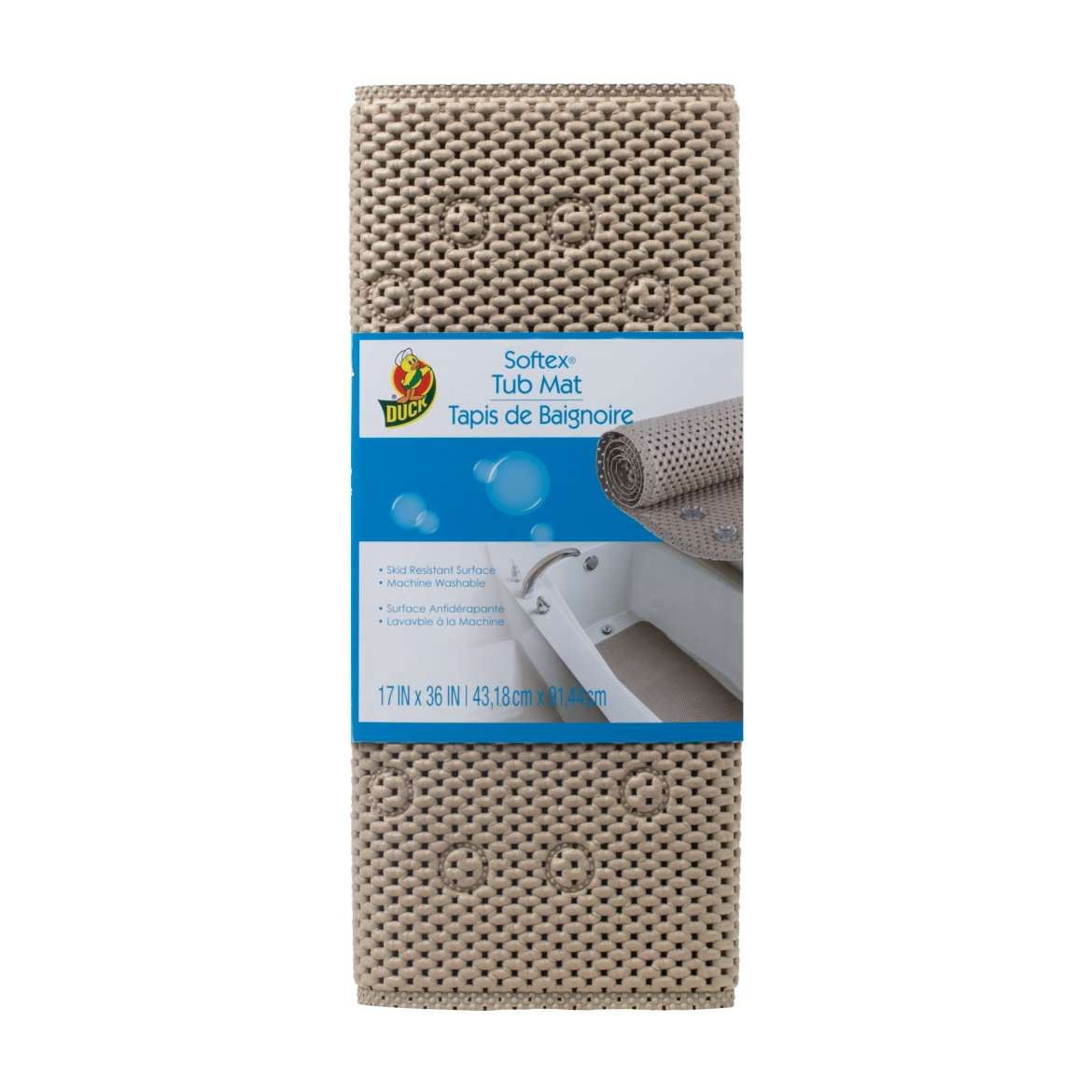 Duck® Brand Softex® Tub Mat - Taupe, 17 in. x 36 in. Image