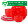 Confetti Dinnerware Set, Red, 12-piece set slideshow image 1