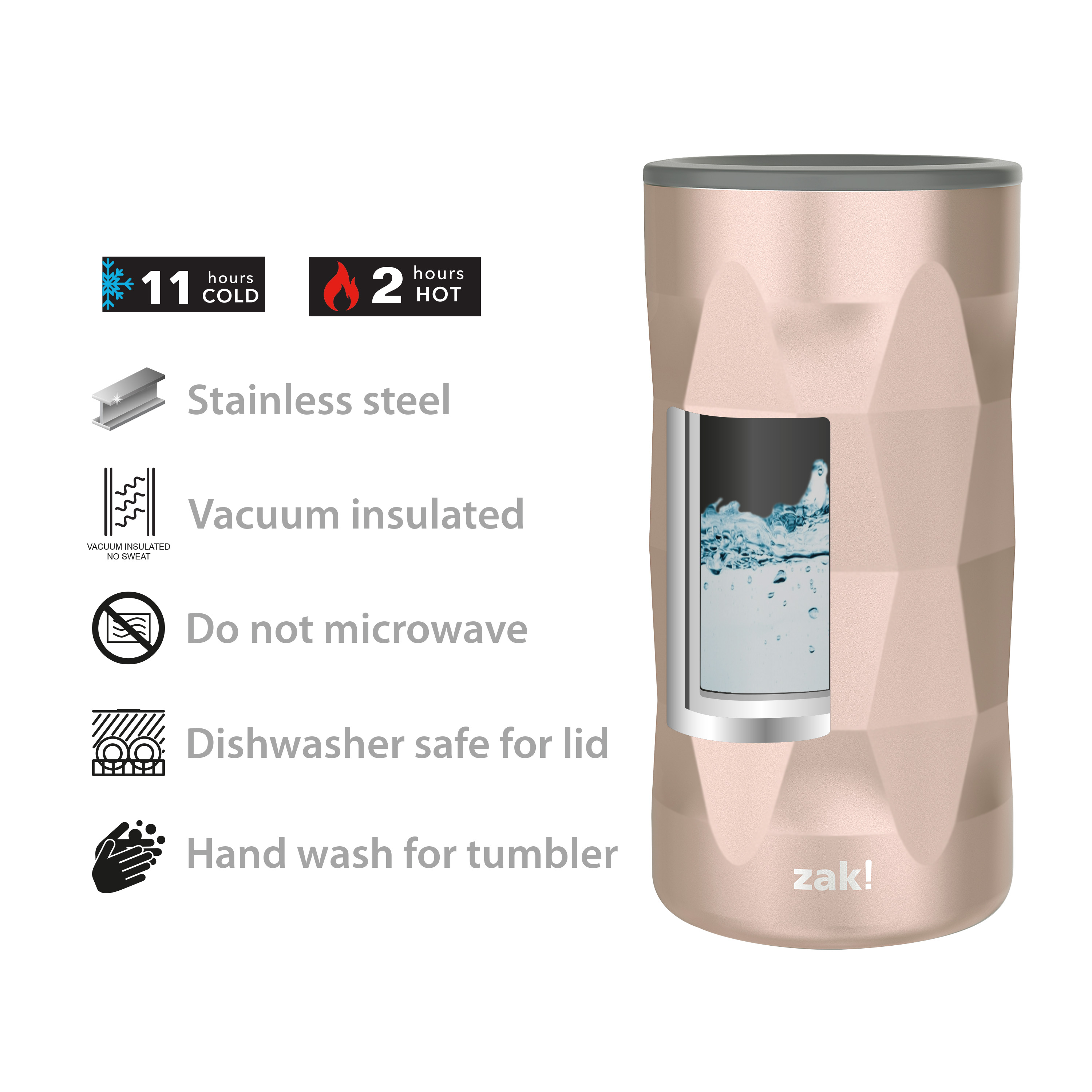 Fractal 12 ounce Vacuum Insulated Stainless Steel Tumbler, Rose Gold slideshow image 8