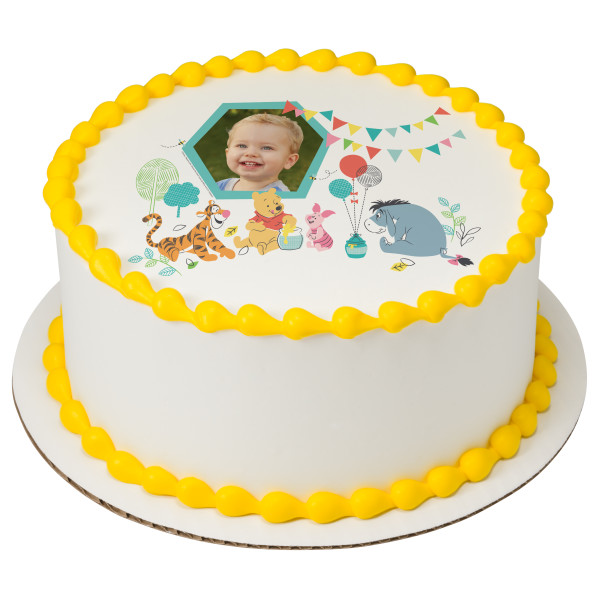 Disney Baby Winnie the Pooh 1st Birthday PhotoCake® Edible Image® Frame