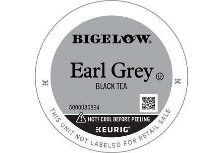 Lid of Bigelow Earl Grey Black Tea K-Cups for Keurig