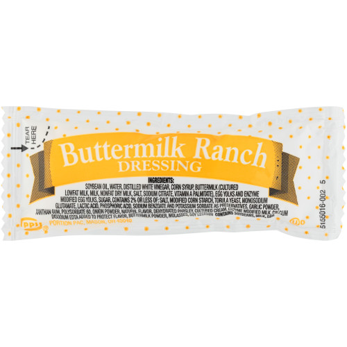 PPI Single Serve Buttermilk Ranch Dressing, 12 gr. Packets (Pack of 200)