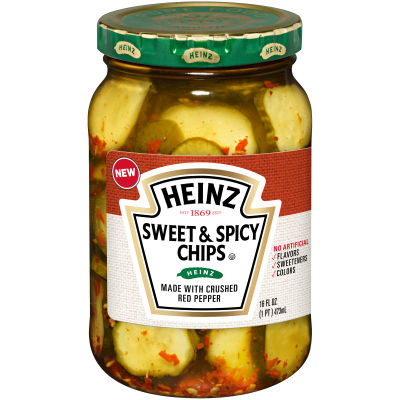 Heinz Sweet and Spicy Chips Pickles, 16 fl oz Jar