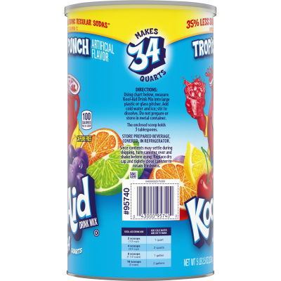 Kool-Aid Sugar Sweetened Tropical Punch Powdered Soft Drink 82.5 oz Canister