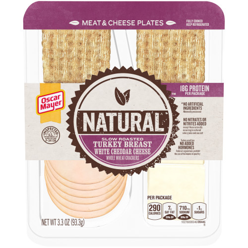 Natural Slow Roasted Turkey Breast, White Cheddar Cheese & Whole Wheat Crackers 3.3 oz Tray