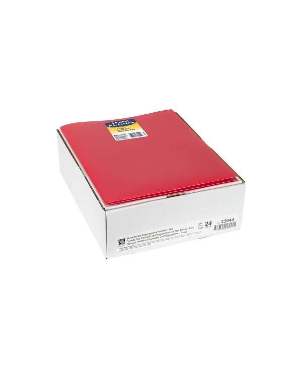 C-Line® 3-Pocket Poly Portfolio, Red, Box Of 24 C-Line